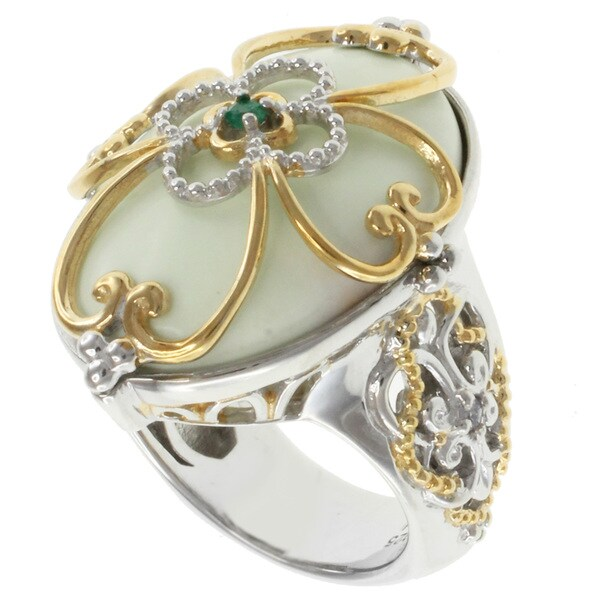 Michael Valitutti Two-tone Lime Chrysophase Ring