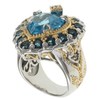 Michael Valitutti Two-tone Blue Topaz and Sapphire Ring