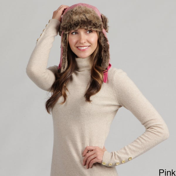 David and Young Women's Melange Knit Faux Fur Trapper Hat