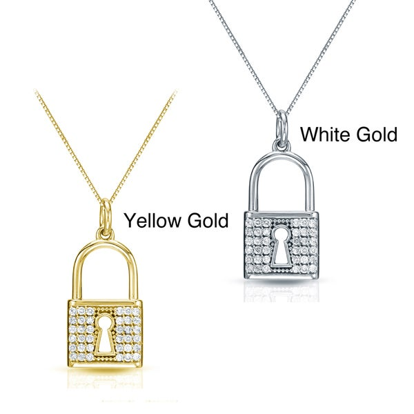 Auriya 14k Gold 2/5ct TDW Diamond Lock Necklace (H-I, I1-I2)