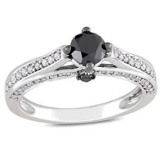 Miadora 10k White Gold 1ct TDW Black and White Diamond Ring (H-I, I2-I3)