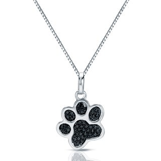 14k White Gold 1/10ct TDW Black Diamond Dog Paw Necklace