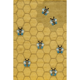 Hand-tufted Lil Mo Honeycomb Gold Rug