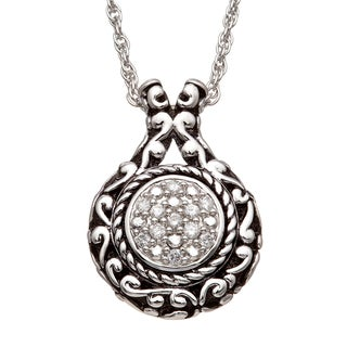 Sterling Silver 1/5 CT TDW Diamond Vintage Inspired Rope Circle Necklace with Black Antiquing (