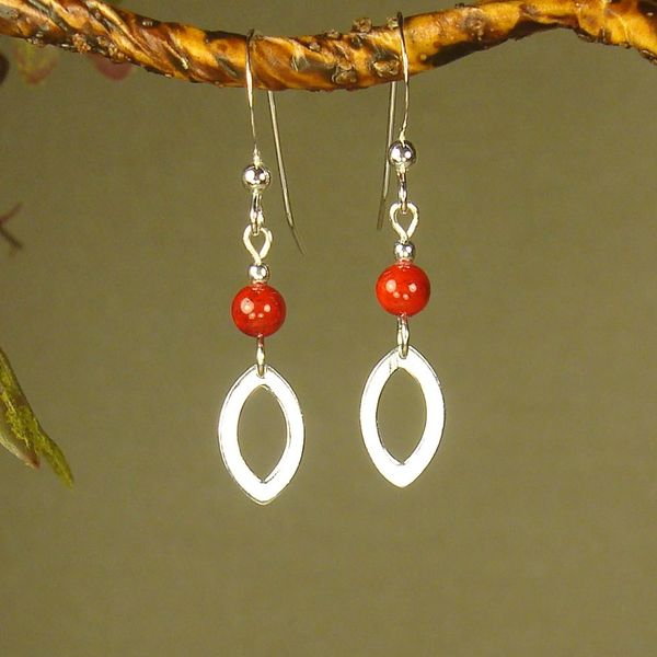 Jewelry by Dawn Red Riverstone Open Marquis Sterling Silver Earrings