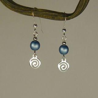Jewelry by Dawn Blue With Silver Swirl Drop Earrings