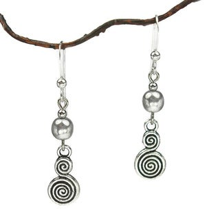 Bright Silver With Double Swirl Drop Earrings