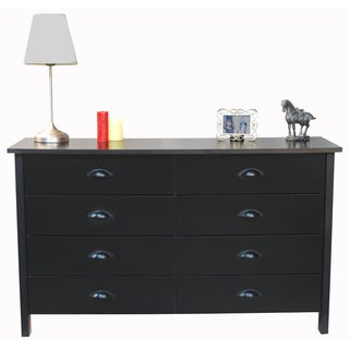 Venture Horizon &#39;Nouvelle&#39; Black Finish 8-drawer Lowboy Dresser