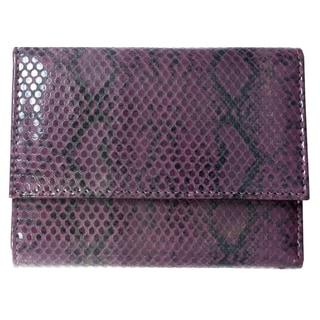Brandio Women's Purple Snake Print Leather Wallet