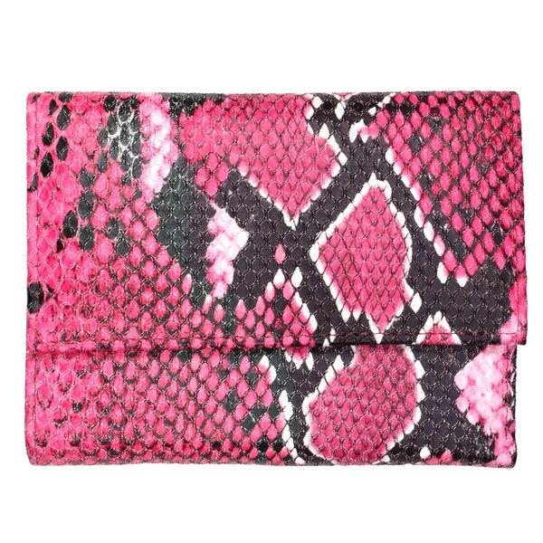 Brandio Women's Pink Snake Print Leather Wallet