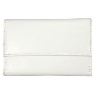 YL Women's White Leather Tri-fold Wallet