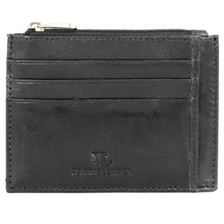 YL Men's Black Leather Credit Card Holder Wallet