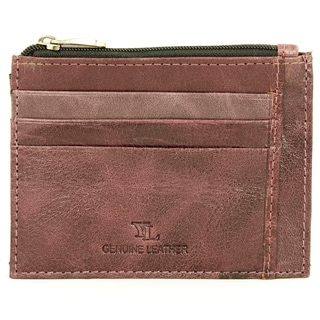 YL Men's Purple Leather Credit Card Holder Wallet