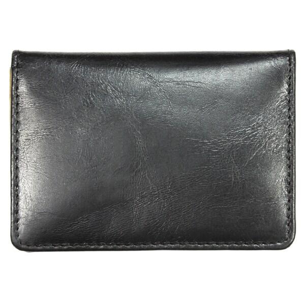 YL Black Leather Credit Card Holder Wallet