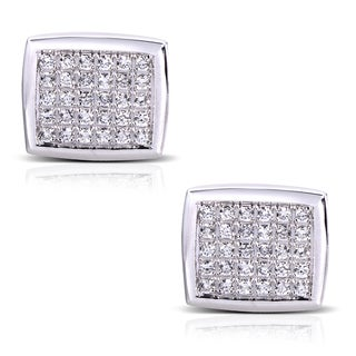 14k White Gold 1 1/2ct TDW Round-cut Diamond Pave Cuff Links (G-H, SI1-SI2)