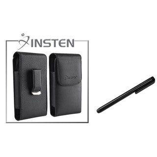 INSTEN Black Leather Case/ Stylus for Apple iPhone 4/ 4S