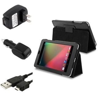 BasAcc Leather Case/ Travel/ Car Charger/ Cable for Google Nexus 7