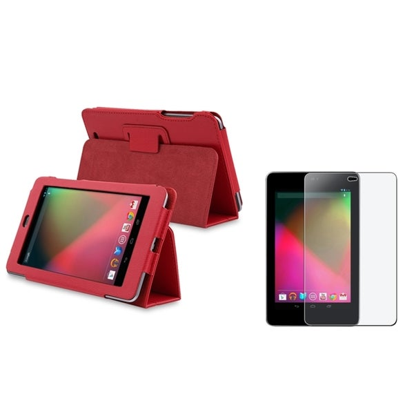 BasAcc Red Leather Case/ Anti-Glare Anti-Scratch LCD Protector for Google Nexus 7