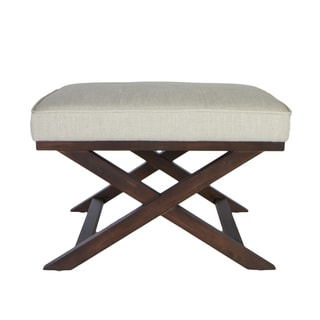 Traditional Cross Legs White Linen Bench Ottoman
