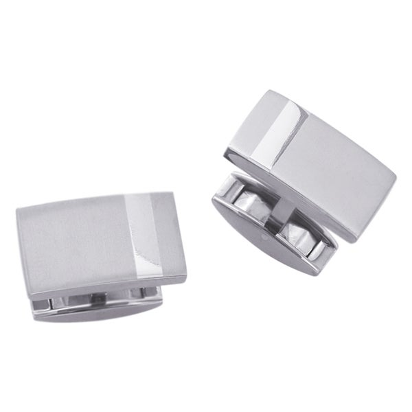 Titanium Men's Rectangular Shiny Stripe Cuff Links