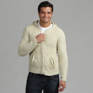 191 Unlimited Mens Cream Cable Knit Sweater