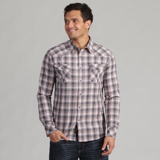 191 Unlimited Men's Grey Woven Plaid Shirt