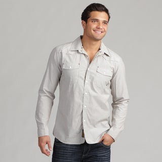 191 Unlimited Men's Grey Long-Sleeve Woven Shirt