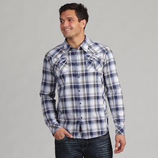 191 Unlimited Men's Blue Woven Plaid Shirt