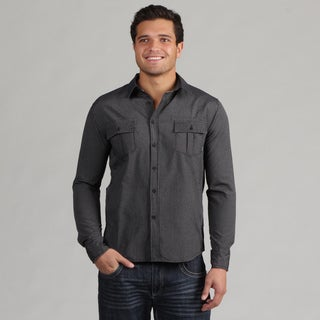 191 Unlimited Men's Black Striped Woven Shirt