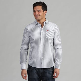 191 Unlimited Men's Grey Stripe Button Up Shirt