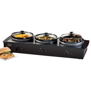 Nostalgia Electrics Stainless/ Black 1.5-Quart Triple Slow Cooker Buffet
