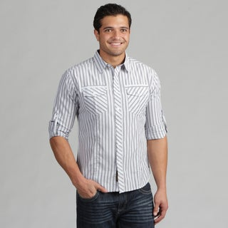191 Unlimited Mens Blue Stripe Woven Shirt with Pockets