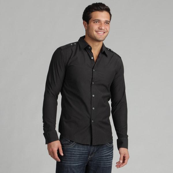 191 Unlimited Men's Slim Fit Black Woven Long-sleeve Shirt