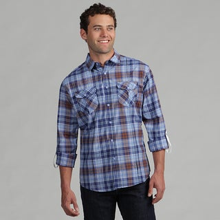 191 Unlimited Mens Blue/Brown Plaid Subtly Detailed Woven Shirt