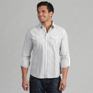 191 Unlimited Men's White Stripe Camper Sleeve Shirt