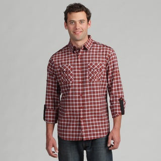 191 Unlimited Men's Brown Plaid Woven Shirt