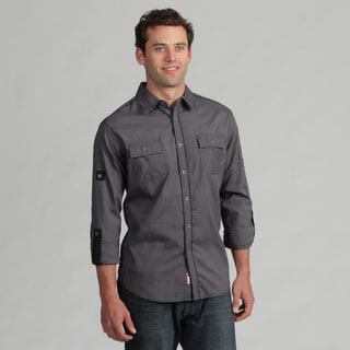 191 Unlimited Mens Black Long-Sleeved Woven Shirt