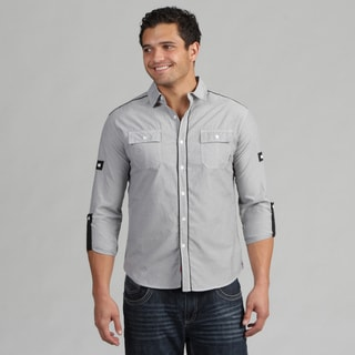 191 Unlimited Mens Gray Stripe Woven Short-Sleeve Shirt