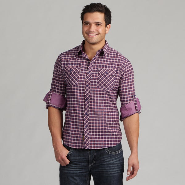 191 Unlimited Men's Red Woven Plaid Camper Sleeve Shirt