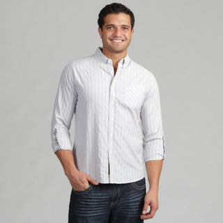 191 Unlimited Mens Grey Stripe Woven Shirt