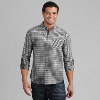 191 Unlimited Mens Black Plaid Cotton/Polyester Woven Shirt