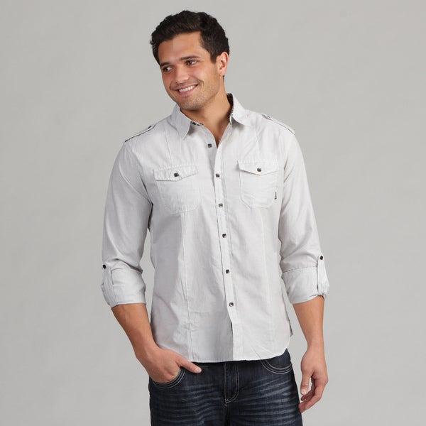 191 Unlimited Men's White Contrast Button Shirt