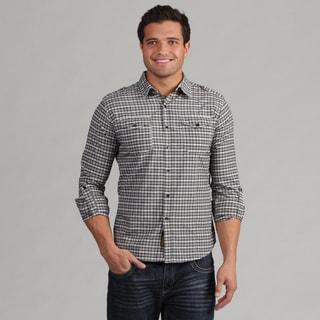 191 Unlimited Men's Camper Sleeve Black Plaid Shirt