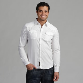 191 Unlimited Mens White Stripe Woven Shirt