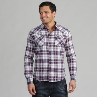 191 Unlimited Mens Blue/White Plaid Woven Shirt
