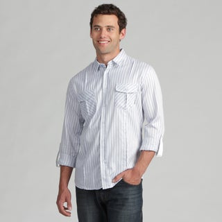 191 Unlimited Mens Blue Stripe Woven Shirt