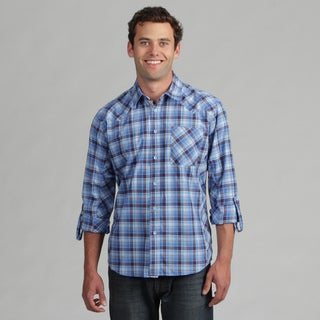 191 Unlimited Mens Blue Long-Sleeves Plaid Woven Shirt