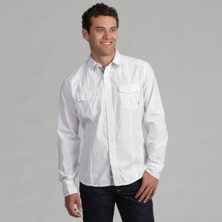 191 Unlimited Mens White Gray-Pinstripe Woven Shirt