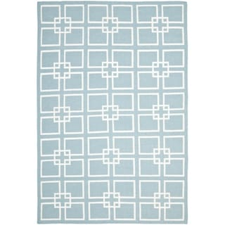 Martha Stewart Square Dance Geyser Blue Wool/ Banana Silk Rug
