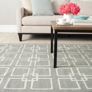 Martha Stewart Square Dance Cement Grey Wool/ Banana Silk Rug
